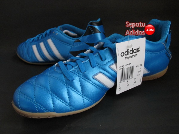ADIDAS 11QUESTRA IN Blue-White-Black INDOOR SOCCER SHOES